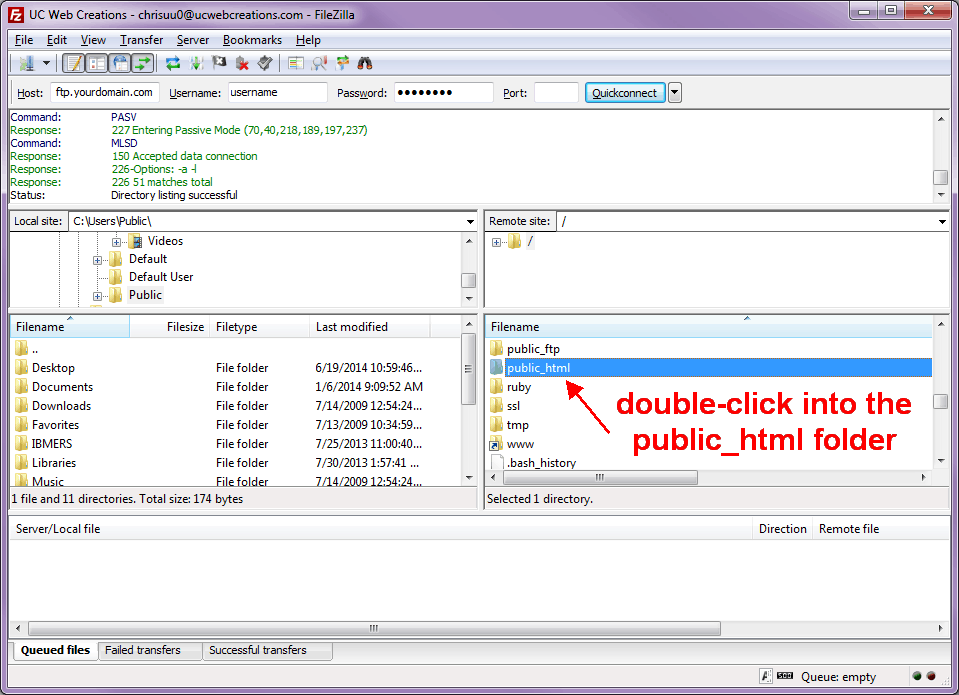 FileZilla - choose public_html folder